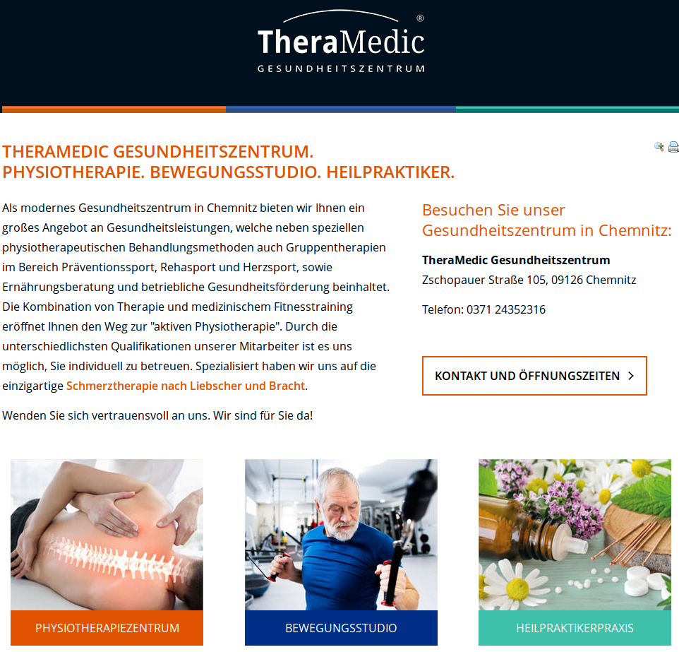Relaunch der Website von BNI Mitglied TheraMedic Gesundheitszentrum…  TheraMedic Gesundheitszentrum