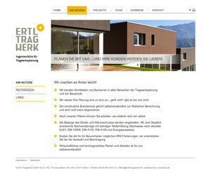 Website der Ertl Tragwerk GmbH & Co. KG…